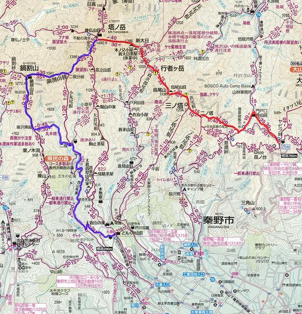 塔ノ岳(表尾根)地図