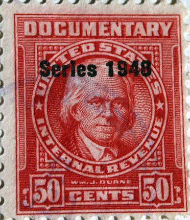 WJDuane US Internal Revenue Documentary Stamp 50 Cents