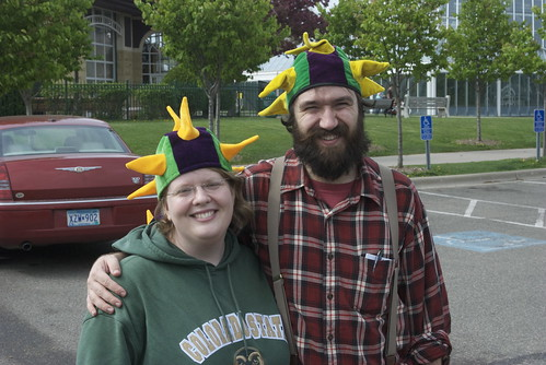 John and me, wearing our matching dragon hats, all those years later.