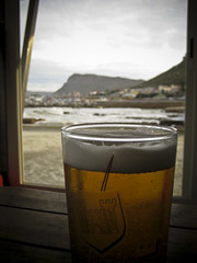 A beer after a chilly walk on Fish Hoek beach