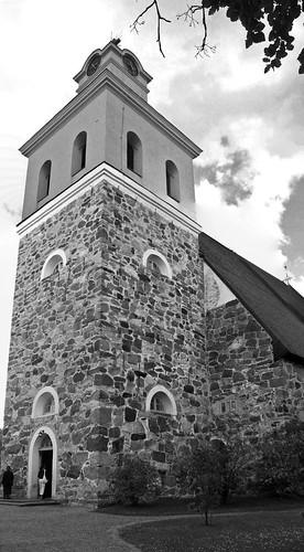 trees blackandwhite church stone architecture clouds finland person europe rauma canonpowershota520