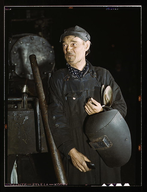 Welder at the C & NW RR locomotive shops, 40th Street shops, Chicago, Ill. (LOC)