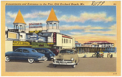 Amusements and entrance to pier, Old Orchard Beach, Me.