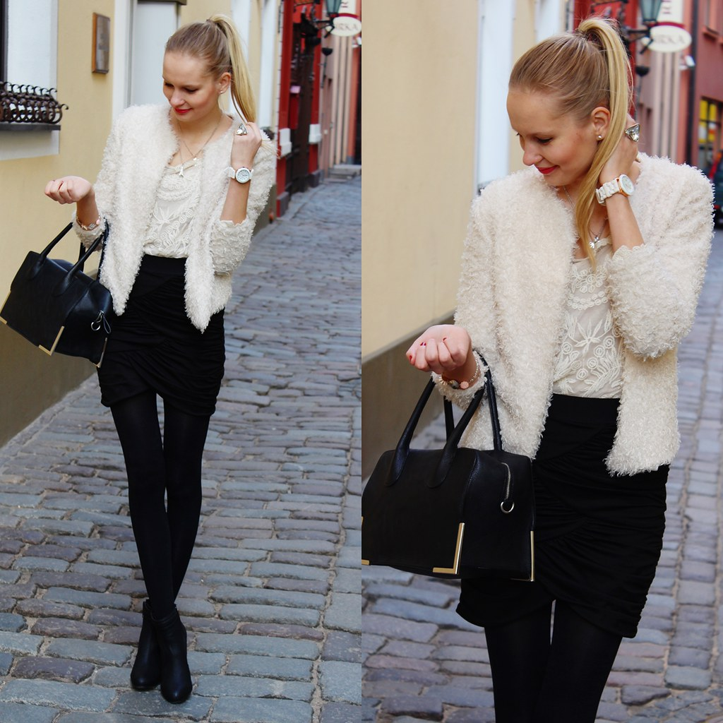 Newest outfit post on Call me Maddie. I am wearing a layered tulip skirt from Zara, fluffy fuzzy jacket from H&M, lace see through blouse from Ebay, black classic bag from H&M, genea silicone watch from Ebay