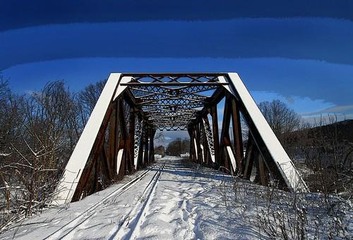 blue winter photoshop ironbridge inspire posterise railroadtracks moreblue adifferenttake diamondclassphotographer chicopeemassachusetts platinumheartaward thenwhite waitingforatrainthatnevercomes