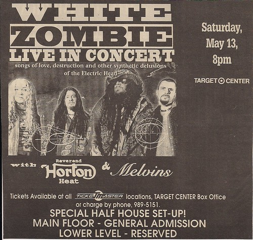 05/13/95 (or 96) White Zombie/Rev. Horton Heat/Melvins @ Minneapolis, MN