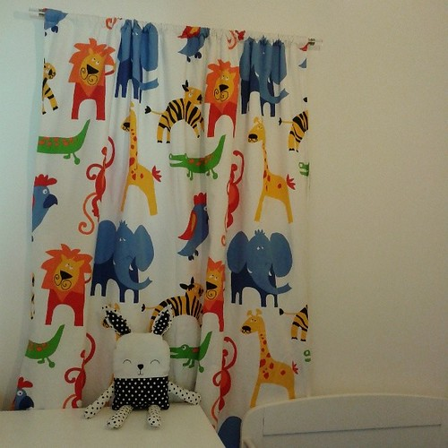 Nursery curtains finished and up! Fabric courtesy of Terrys Fabrics