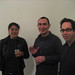 Sakurako Shimizu, Marcin Ramocki, and Aron Namenwirth at artMovingProjects opening