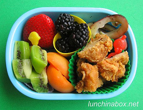 Kara-age and squid bento lunch for preschooler