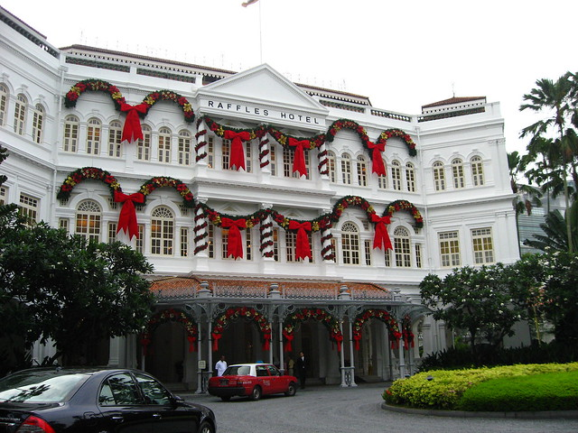 Raffles Hotel, Singapore decorated for Christmas, 2007.