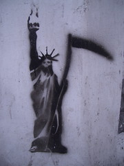The Grim Reaper of Liberty? Artist unknown, stencil spotted in Athens, Greece