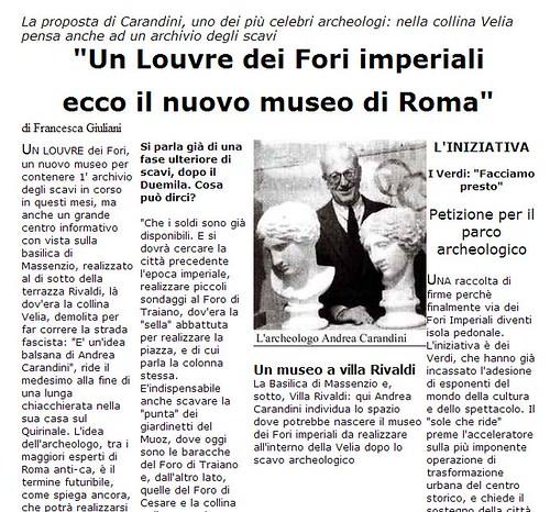 ROMA ARCHEOLOGIA & I FORI IMPERIALI: Flavia Barca, «Rivoluziono l'area archeologica Sarà il ritorno del Grand Tour» Corriere Della Sera, (09 03 2014), p. 2.    ANDREA CARANDINI , LA REPUBBLICA (12 03 1999), p. 3.