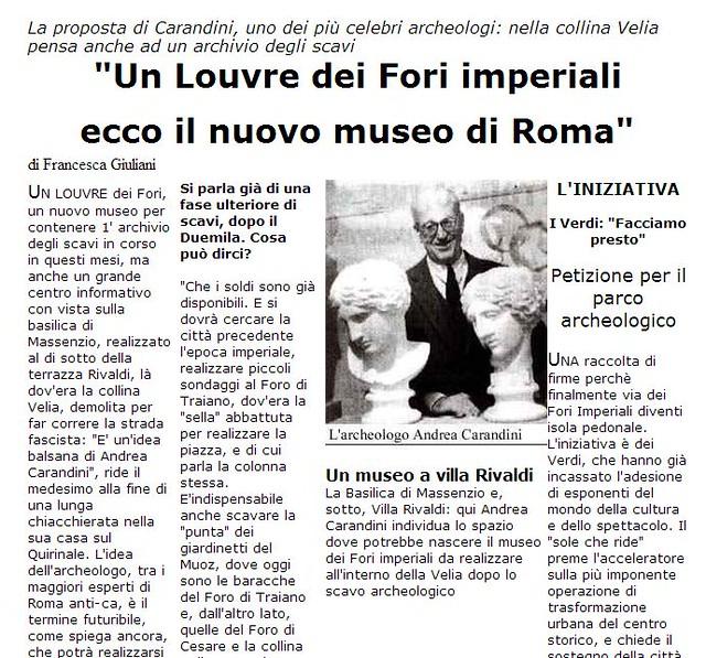 ROMA ARCHEOLOGIA & I FORI IMPERIALI: Flavia Barca, «Rivoluziono l'area archeologica Sarà il ritorno del Grand Tour» Corriere Della Sera, (09|03|2014), p. 2. |  ANDREA CARANDINI , LA REPUBBLICA (12|03|1999), p. 3.