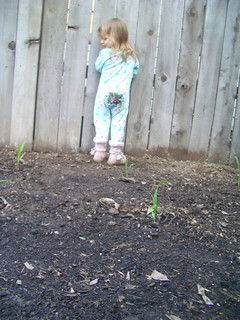 Madeline in the garden, April 2009