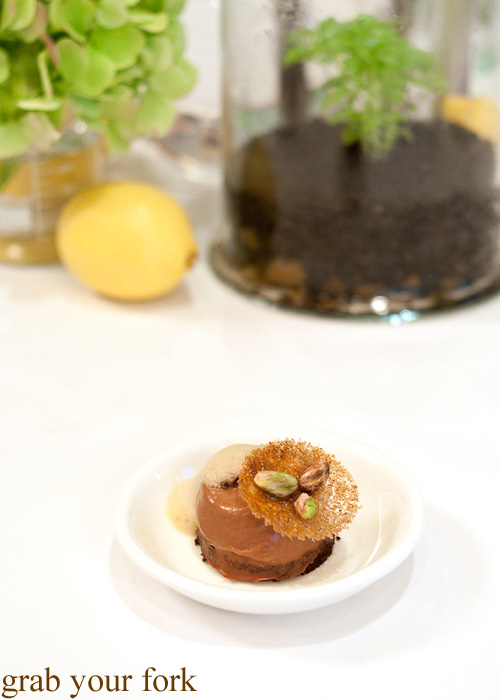 Bitter chocolate custard with pistachio chocolate crunch by Johnny Iuzzini at the Langham MasterClass for the Melbourne Food and Wine Festival 2014