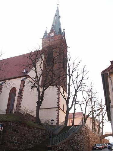 St. Matthäi Kirche Leisnig - Kirchenschiff mit Sterngewölbe, Chorraum mit Netzgewölbe 042