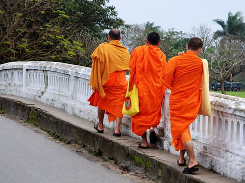 Three thai monks visiting Vietnam
