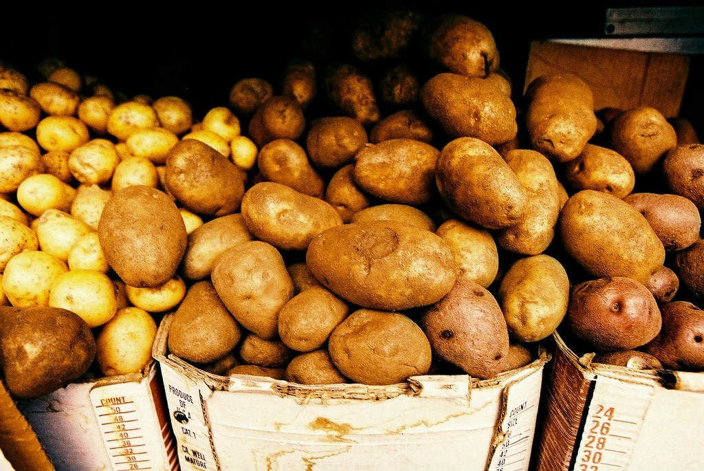 russet potatoes flesh and skin, baked