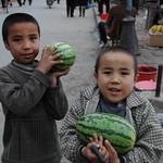 Uighur Boys Bringing Watermelons - Kashgar, China