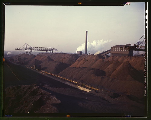 Hanna furnaces of the Great Lakes Steel Coporation, stock pile of coal and iron ore, Detroit, Mich.  (LOC)