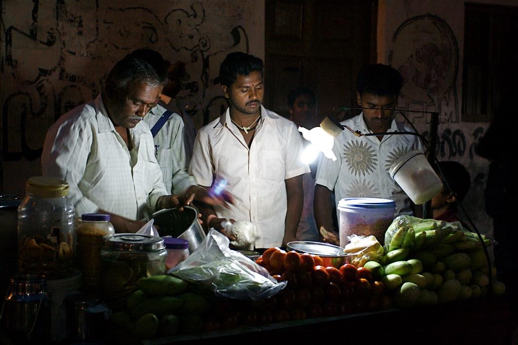 Evening market stall