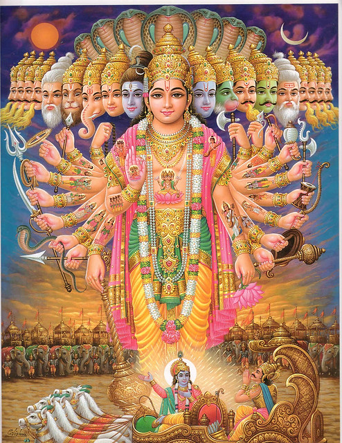 nabhah-sprsam diptam aneka-varnam vyattananam dipta-visala-netram drstva hi tvam pravyathitantar-atma dhrtim na vindami samam ca visno