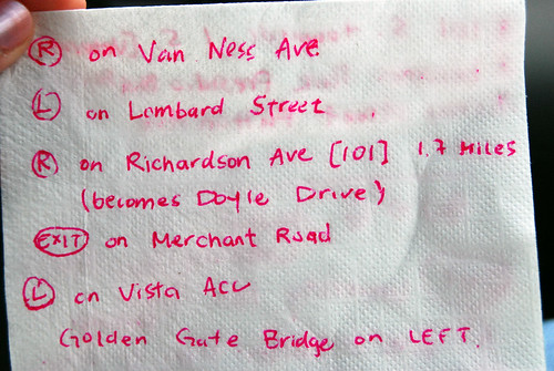 directions on a napkin