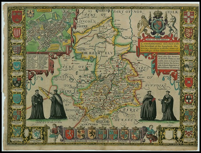 Cambridgeshire - elaborate John Speed proof map