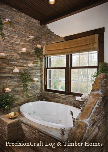 Master Bathroom Custom Hybrid Log Timber Home Precisioncraft Log Timber Homes Flickr