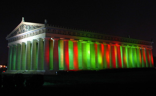 Christmas at Centennial Park #6: Red and Green Parthenon