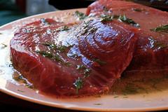 roasting(0.0), rib eye steak(0.0), sirloin steak(0.0), beef tenderloin(0.0), peking duck(0.0), roast beef(0.0), steak(1.0), fish(1.0), red meat(1.0), kobe beef(1.0), food(1.0), boston butt(1.0), dish(1.0), cuisine(1.0), lamb and mutton(1.0),