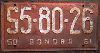 MEXICO, Sonora state, 1960-61 commercial plate