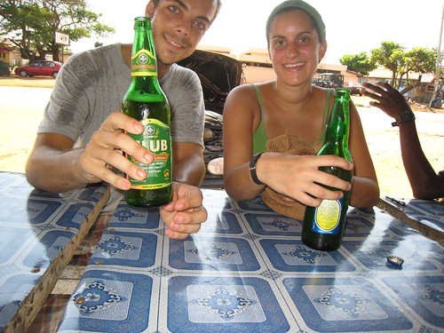 Morning beers in Osu, Ghana with Cortney