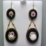 Very Fine Long Victorian Micromosaic Dangle Earrings