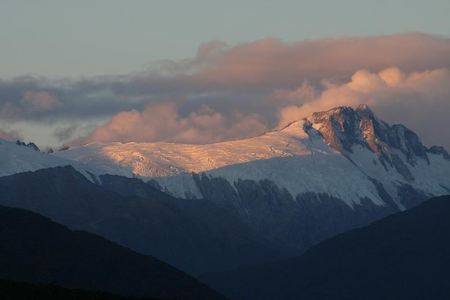 Glacier view from my camp at the Pleasant Flat, Haast.