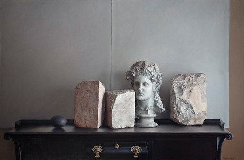 stones and head.2008.122x185cms.oil on canvas
