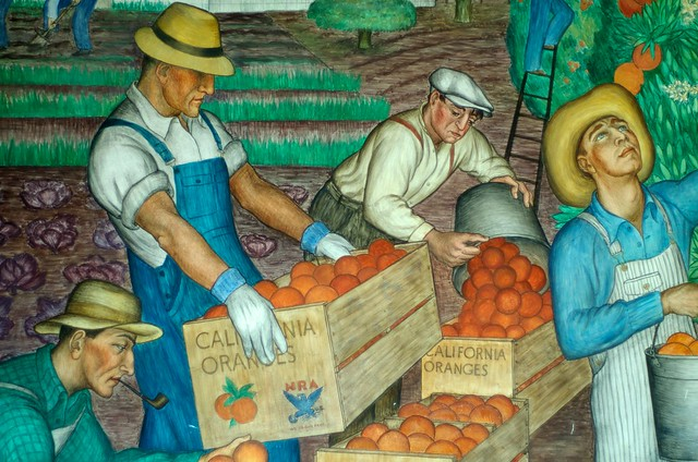 Mural By Diego Rivera Painted Inside Coit Tower San