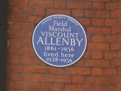 Photo of Edmund Allenby blue plaque