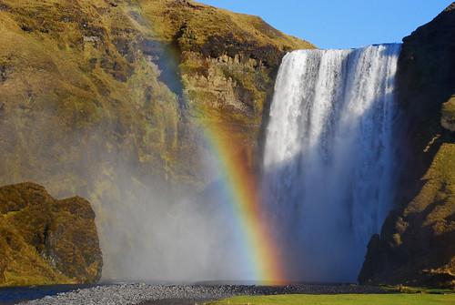 Skogafoss waterfall with rainbow, Iceland