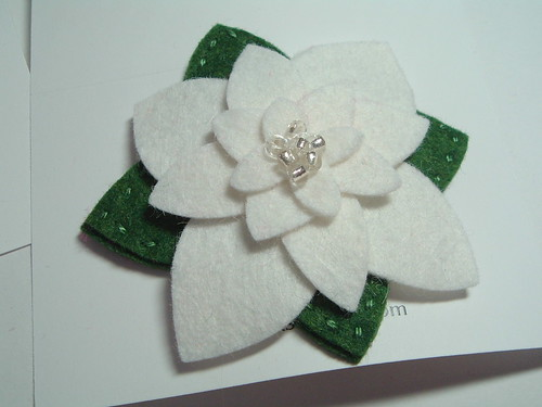 Poinsettia in White wool felt brooch