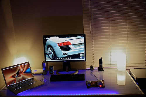 New desk with frosted lights on
