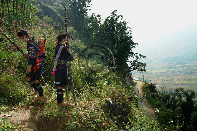 Black Hmong women on the way home