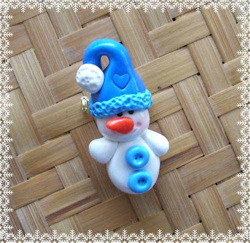 Polymer Clay * Snowman in Blue pin