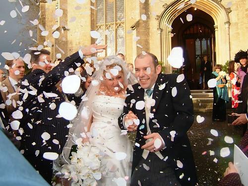 Confetti storm wedding send off