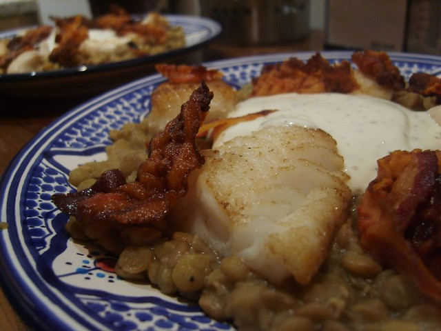 Sauteed Cod With Lentils Recipe — Dishmaps