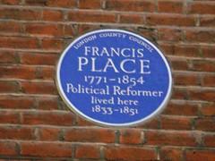 Photo of Francis Place blue plaque