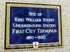 Photo of King William Street Underground Station, London blue plaque