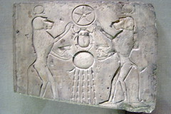 Egyptian sacred beetle and baboons worship Re