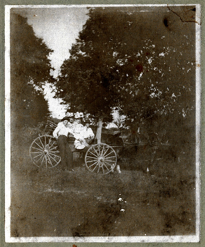 Horse and buggy, two men, two women