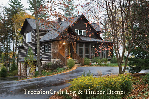 Exterior of a Custom Hybrid Home | Wisconsin Home | PrecisionCraft Log & Timber Homes